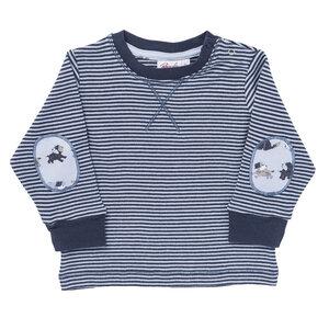 Langarmshirt dunkelblau geringelt mit Ellbow-Patches aus Bio-Baumwolle - People Wear Organic