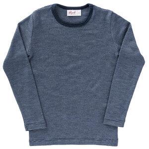 Langarmshirt Wolle-Seide dunkelblau geringelt mit Bio-Wolle - People Wear Organic