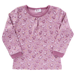"Pyjama rosé mit Druck ""Pferde"" aus Bio-Baumwolle - People Wear Organic"