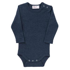 Langarmbody Wolle-Seide dunkelblau mit Bio-Wolle - People Wear Organic