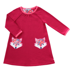 Sweatkleid Fuchstaschen berry GOTS - Enfant Terrible