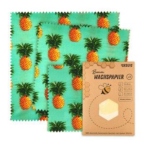 3er Pack Wachspapier | Bienenwachstücher für Lebensmittel - Ananas - Skojig