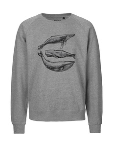 "Fair gehandelter Männer Bio Sweater ""Three Whales"" grey melange - ilovemixtapes"