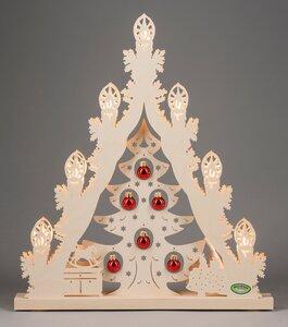 """""""Lichterspitze 7 flg. """"Weihnachtsbaum mit roten Kugeln"""" auch LED Beleuchtung wählbar  - Weigla® Holzkunst"""