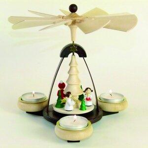 Teelichtpyramide Weihnachtsmann mit 2 weißen Engel- aus dem Erzgebirge - Ullrich Neuhausen