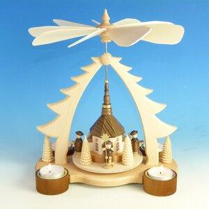 Teelichtpyramide Seiffener Kirche für 4 Teelichter  - aus dem Erzgebirge - Ullrich Neuhausen