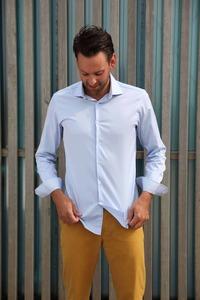 Nachhaltige Langarm Herren Hemd  Serious Blue Slim Fit 100% Bio - SKOT Fashion