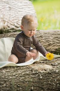 Baby Body langarm Wolle Seide walnuss | GOTS zertifiziert Engel Natur - Engel natur