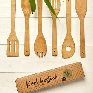 6er Kochlöffel-Set aus 100% Bambus | Küchenlöffel  - Bambuswald