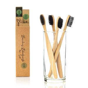Set von 4x Zahnbürste mit schwarzen Bürsten - Bambuswald