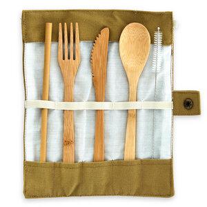 Reise-Besteck (Löffel, Gabel, Messer & Strohhalme) aus 100% Bambus  - Bambuswald