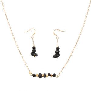 Erde - stilvolles Set aus Halskette und Ohrringen mit schwarzen Onyx - MoreThanHip-Joyas