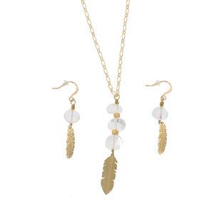 Luft - stilvolles Set aus Halskette und Ohrringen mit Kristallquarz. - MoreThanHip-Joyas