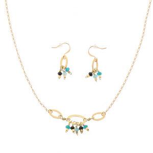 Wasser - stilvolles Set aus Halskette und Ohrringen mit blauem Achat - MoreThanHip-Joyas