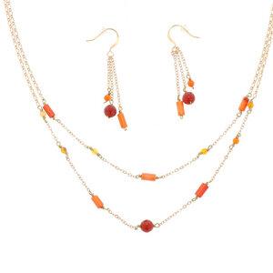 Feuer - stilvolles Set aus Halskette und Ohrringen mit roten Achaten - MoreThanHip-Joyas