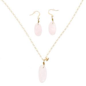 Love - stilvolles Set aus Halskette und Ohrringen mit Rosenquarz - MoreThanHip-Joyas