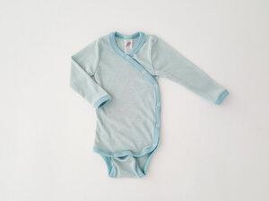 Baby Wickel Body Wolle Seide Streifen GOTS zertifiziert Engel Natur - Engel natur