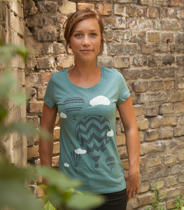 Heißluftballons - Fair Wear Frauen T-Shirt - Heather Eucalyptus - päfjes