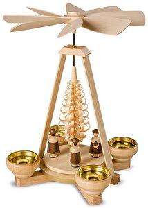 schlichte kleine Pyramide Kurrende für 4 Teelichter Erzgebirge - Müller Seiffen