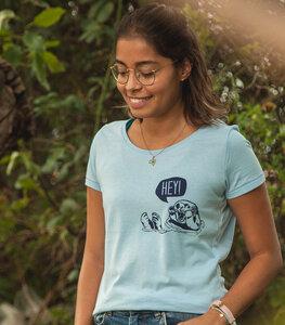 Hey Oskar Otter Brust - Fair Wear Frauen T-Shirt - Skyeblue - päfjes