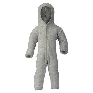 Baby Overall mit Kapuze u. Holzknöpfen Schurwolle kbT - Engel natur
