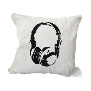 Bio Kissenbezug, 45x45 cm, Kopfhörer, Siebdruck handbedruckt - Cherry Bomb