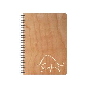 Schreibblock Stier Kirschholzumschlag - echtholz