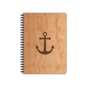 Anker Notizbuch mit Kirschholzumschlag - echtholz