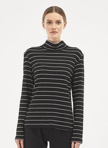 Rollkragenpulli - Striped Turtle Neck Blouse - Schwarz Weiß  - ORGANICATION