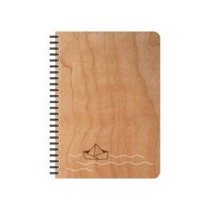Schreibblock Kirschholz Motiv Papierschiff - echtholz