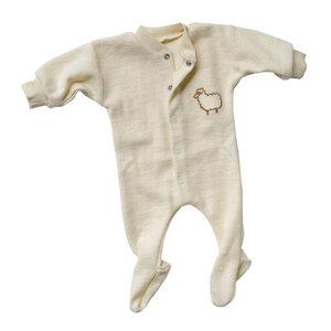 Baby Schlafanzug Langarm Schurwolle kbT - Engel natur