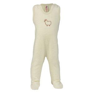 Baby Strampler mit Fuß Schurwolle kbT - Engel natur