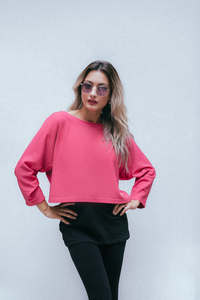 Umstands- und Stillpulli kurz: Crop Top dick in very berry - stillfashion
