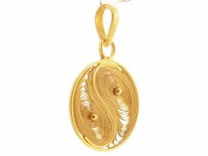 Anhänger Yin Yang Silber vergoldet - Filigrana Schmuck