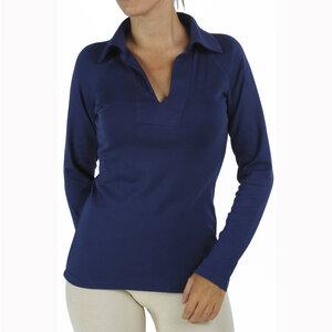 Damen Langarm Polo-Ausschnitt T - Shirt - Biologischer Pima Baumwolle - B.e Quality