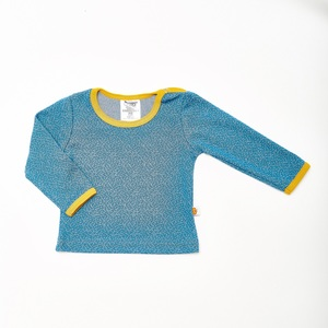 "Langarm Baby-Shirt ""Dotties Blau / Senf"" aus 100% Bio-Baumwolle - Cheeky Apple"