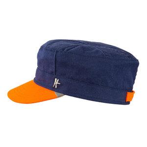 """Schirmmütze """"Genosse"""" aus Arbeitskleidung -dunkelblau-orange - ReHats Berlin"""