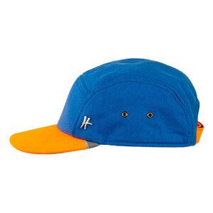 "5-Panel-Cap ""Azubi"" aus Arbeitskleidung - hellblau-orange - ReHats Berlin"