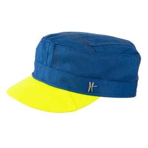 """Schirmmütze """"Genosse"""" aus Arbeitskleidung -hellblau-gelb - ReHats Berlin"""