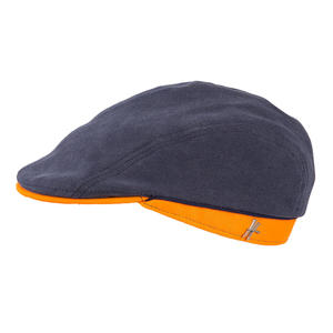 "Flatcap ""Geselle"" aus Arbeitskleidung - dunkelblau-orange - ReHats Berlin"