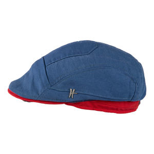 "Flatcap ""Geselle"" aus Arbeitskleidung - dunkelblau-rot - ReHats Berlin"