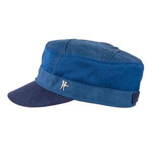"""Schirmmütze """"Genosse"""" aus Arbeitskleidung -hellblau-dunkelblau - ReHats Berlin"""