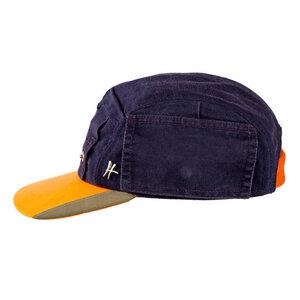 """5-Panel-Cap """"Azubi"""" aus Arbeitskleidung - dunkelblau-orange - ReHats Berlin"""