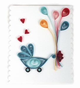 Grußkarte Kinderwagen mit Luftballons  - El Puente
