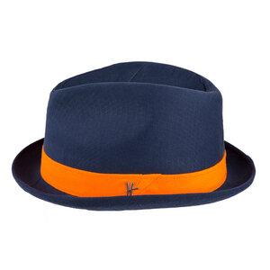 "Player-Hut ""Bürgermeister"" aus Arbeitskleidung - dunkelblau-orange - ReHats Berlin"
