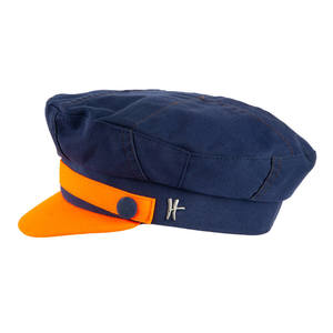 "Sailor Cap ""Käptn"" - dunkelblau-orange - ReHats Berlin"