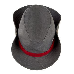"Cowboyhut ""Mrs. Cowboy"" aus Arbeitskleidung - grau-rot - ReHats Berlin"