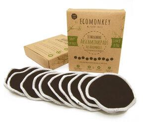 Abschminkpads Waschbar aus Baumwolle 10 St. Schwarz  plus Wäschenetz  - ECOMONKEY