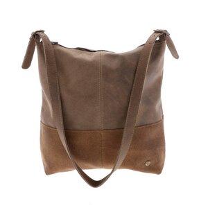 Amena - stilvolle 2-farbige Damenhandtasche aus Semi-Ökö-Leder - braun - MoreThanHip