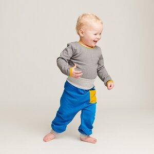 """Babypumphose mit Tasche """"Sweat Blau"""" - 95% Bio-Baumwolle, 5% Elasthan - Cheeky Apple"""